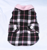 Pink & Black Plaid Fleece Coat