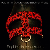 Red with Black Paws Harness